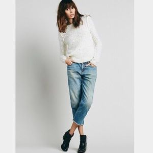 Free People Boyfriend Crop Distressed Jeans